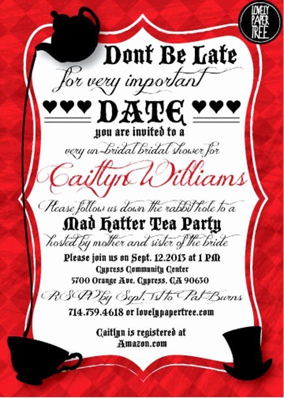 Mad Hatter Tea Party Invites Unique Mad Hatter S Tea Party Bridal Shower Invitation by Lovelypapertree
