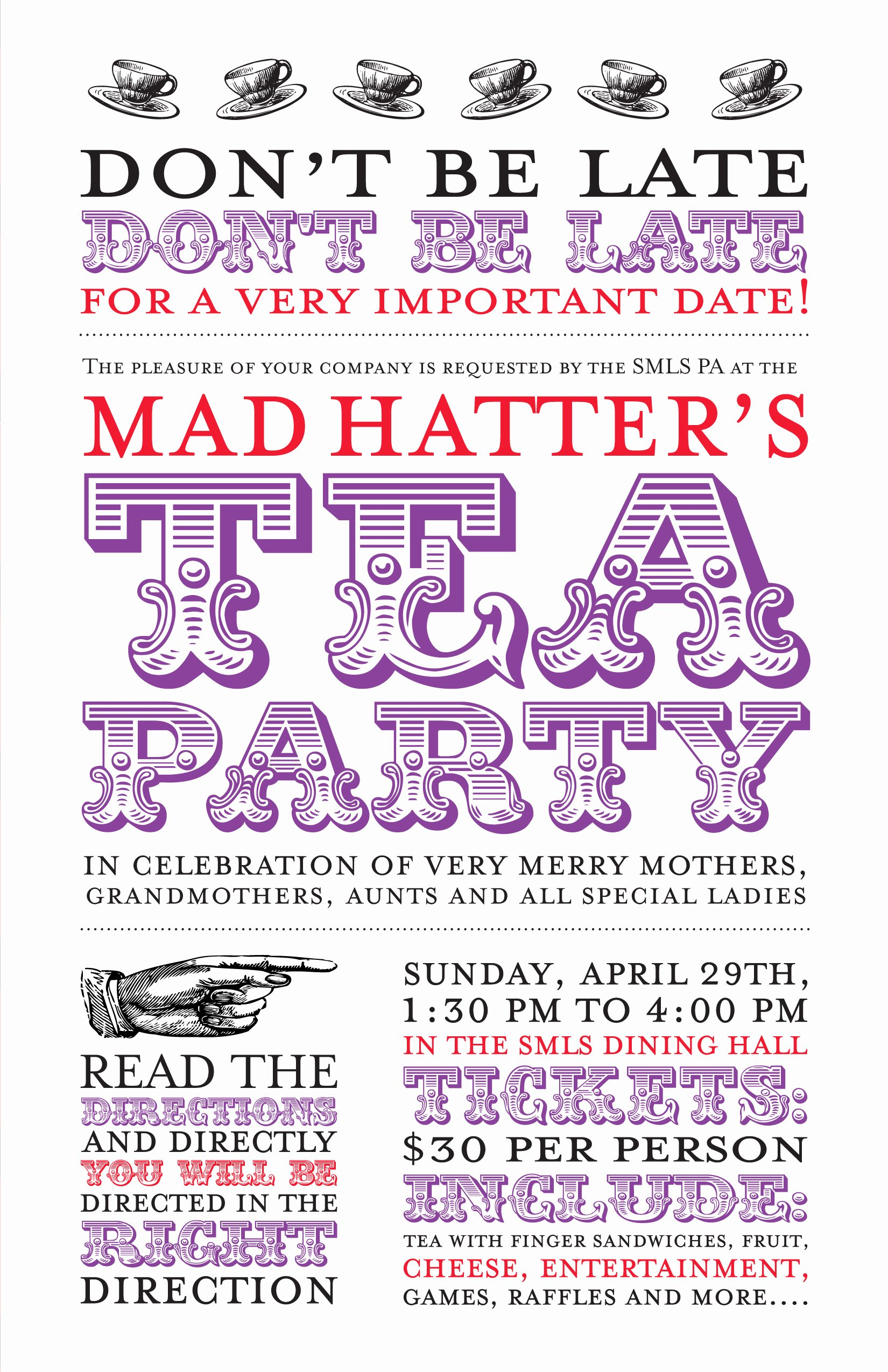 Mad Hatters Tea Party Invite Awesome Alice's Adventures In Typography