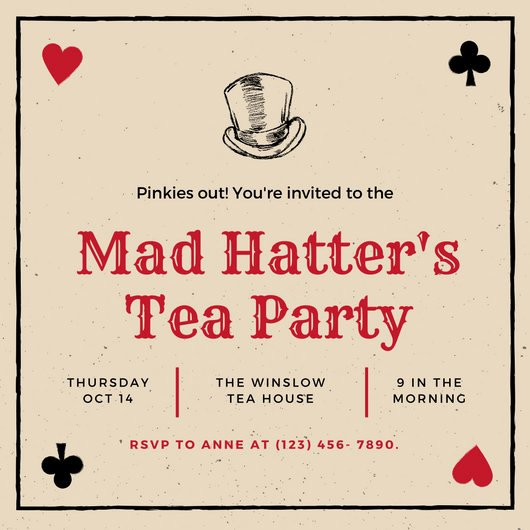 Mad Hatters Tea Party Invite Elegant Black Red Playing Cards Mad Hatter Tea Party Invitation Templates by Canva