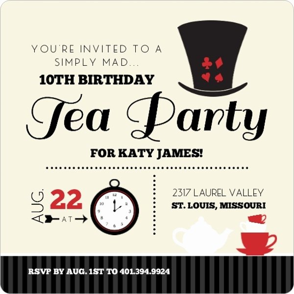 Mad Hatters Tea Party Invite Fresh Black and Red Mad Hatter Kids Tea Party Birthday Invitation