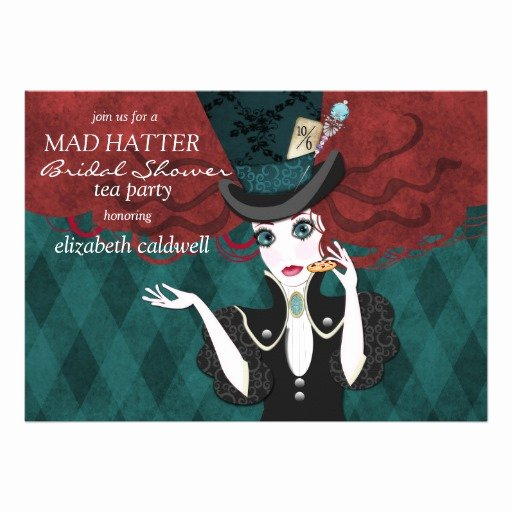 """Mad Hatters Tea Party Invite Inspirational Mad Hatter Bridal Shower Tea Party Invitation 5"""" X 7"""" Invitation Card"""