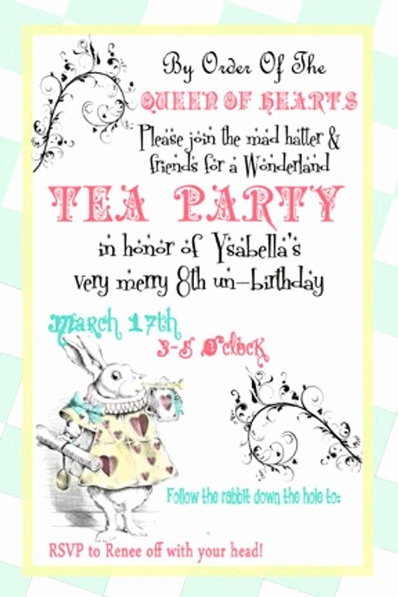 Mad Hatters Tea Party Invite Lovely Alice In Wonderland Invite Mad Hatter Tea Party by Digitalparties