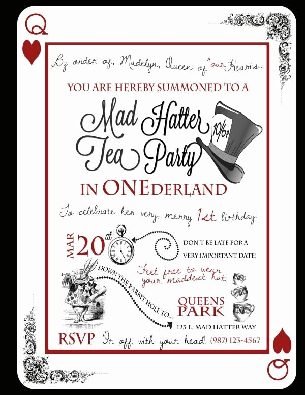 """Mad Hatters Tea Party Invite Lovely Tea Party In """"one""""derland or Just Wonderland if It S Not for A 1st Birthday"""