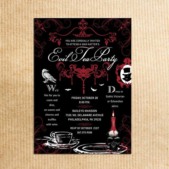 Mad Hatters Tea Party Invite New Items Similar to Gothic Mad Hatter Tea Party Adult formal Party Invitations Stationery by