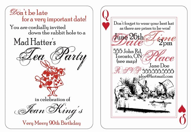 Mad Hatters Tea Party Invite New Mad Hatter Party Invitation