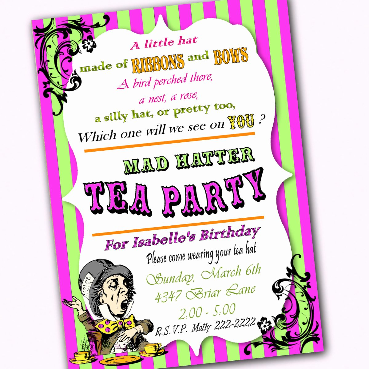Mad Hatters Tea Party Invites Beautiful Mad Hatter Birthday Tea Party Bright Invitation by Partyeverafter