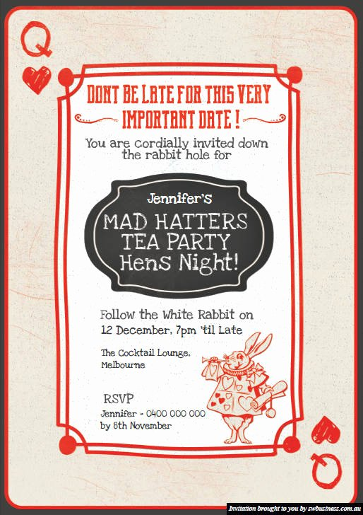 Mad Hatters Tea Party Invites Best Of Mad Hatters Tea Party Hens Invites