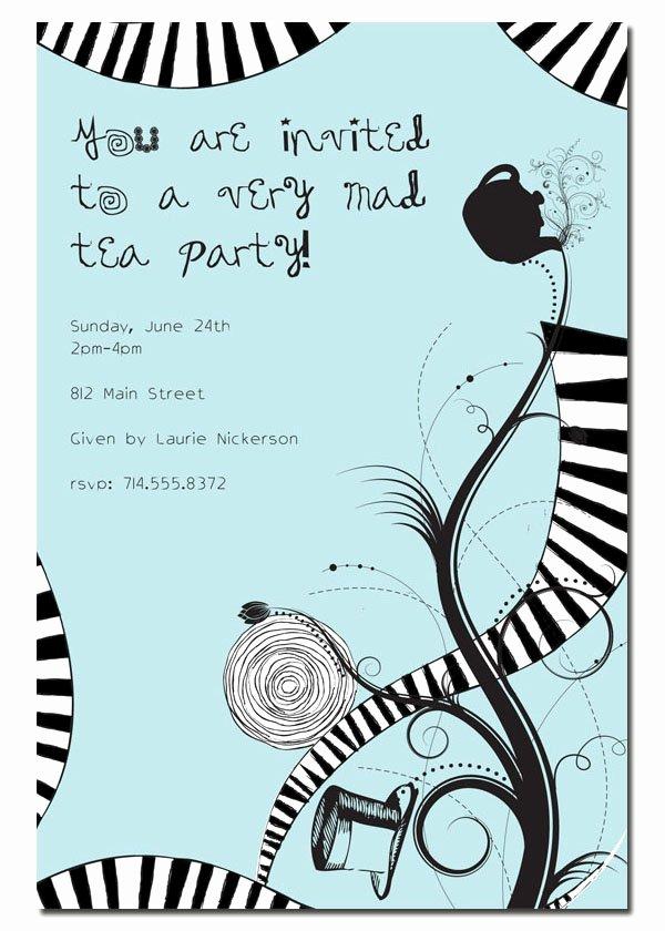 Mad Hatters Tea Party Invites Elegant Mad Hatter Tea Party Invitations