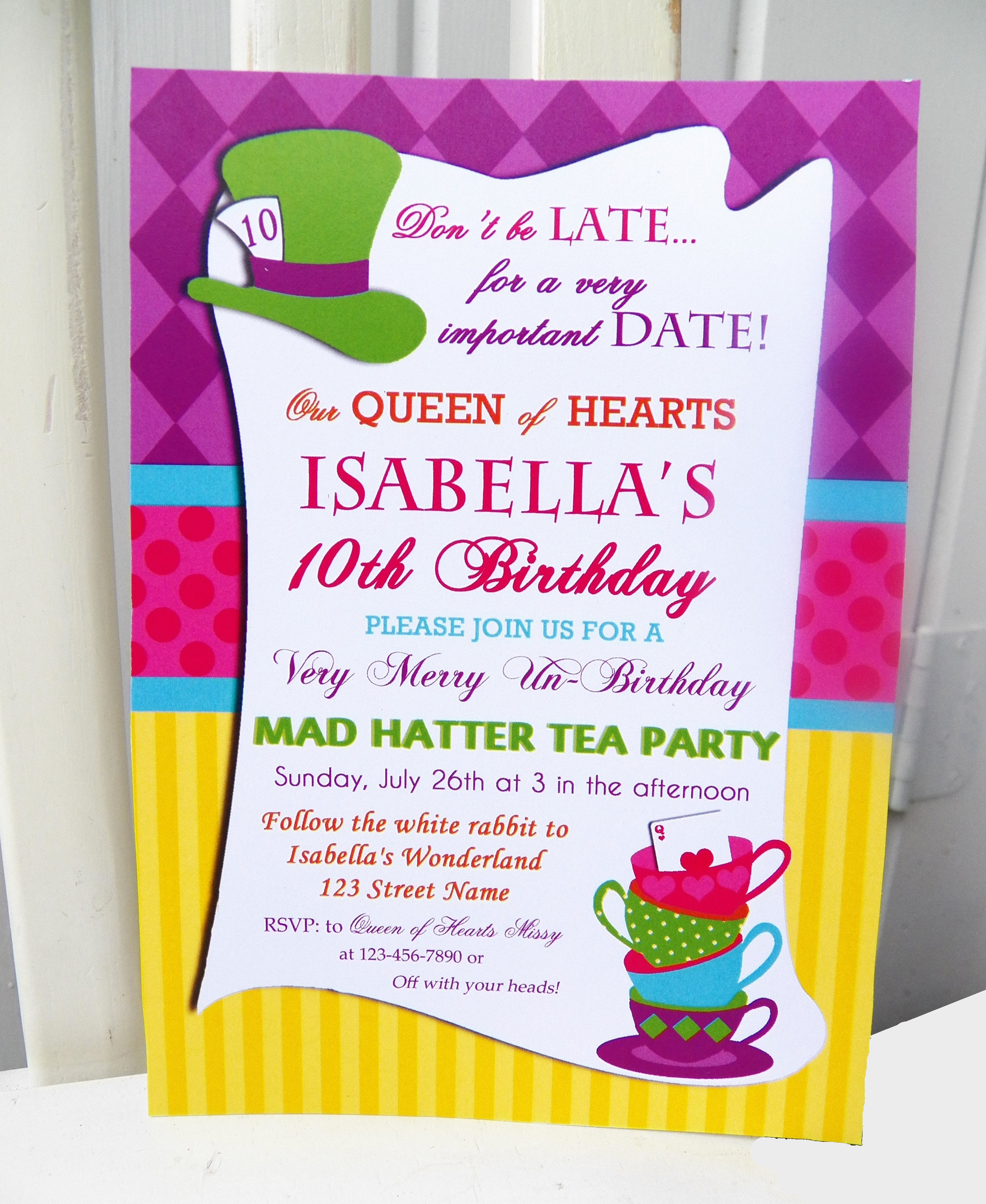 Mad Hatters Tea Party Invites Fresh Mad Hatter Inspired Tea Party that Party Chick