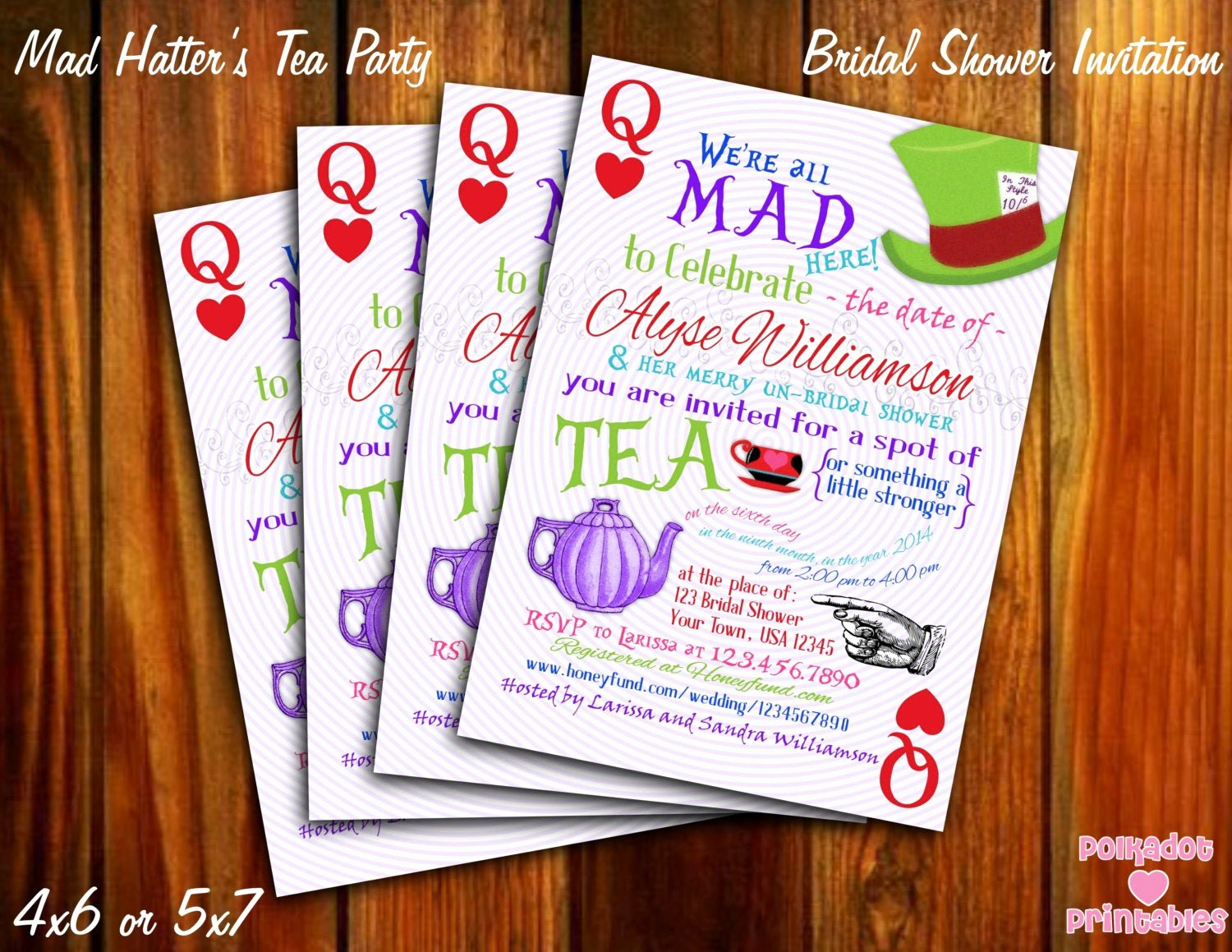 Mad Hatters Tea Party Invites Fresh Mad Hatter S Tea Party Bridal Shower Invitation 4x6 or