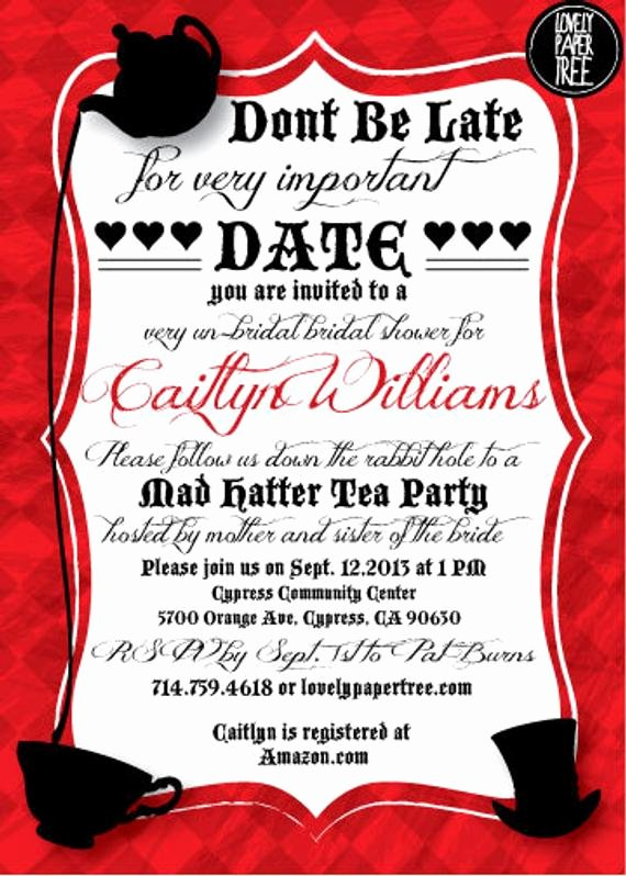 Mad Hatters Tea Party Invites Inspirational Mad Hatter S Tea Party Bridal Shower Invitation by Lovelypapertree