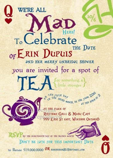 Mad Hatters Tea Party Invites Lovely Invitations to A Mad Hatter Tea Party Bridal Shower Wedding