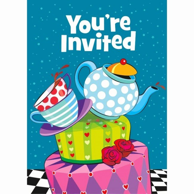 Mad Hatters Tea Party Invites Lovely Mad Hatter Tea Party Invitations Tea Party Party Supplies