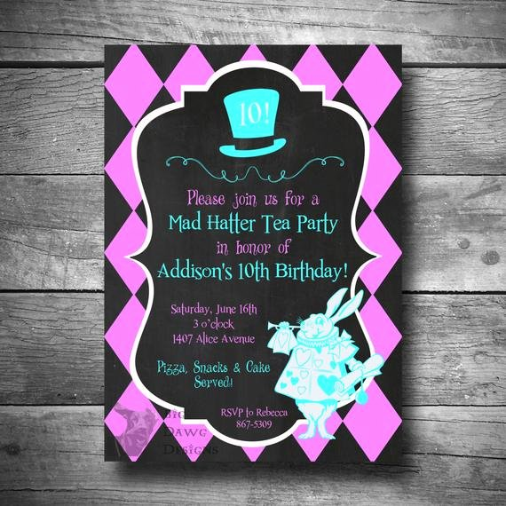 Mad Hatters Tea Party Invites New Mad Hatter Tea Party Birthday Invitation Alice In Wonderland