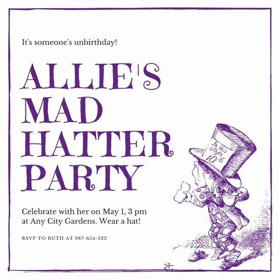 Mad Hatters Tea Party Invites New Violet Mad Hatter Tea Party Invitation Templates by Canva
