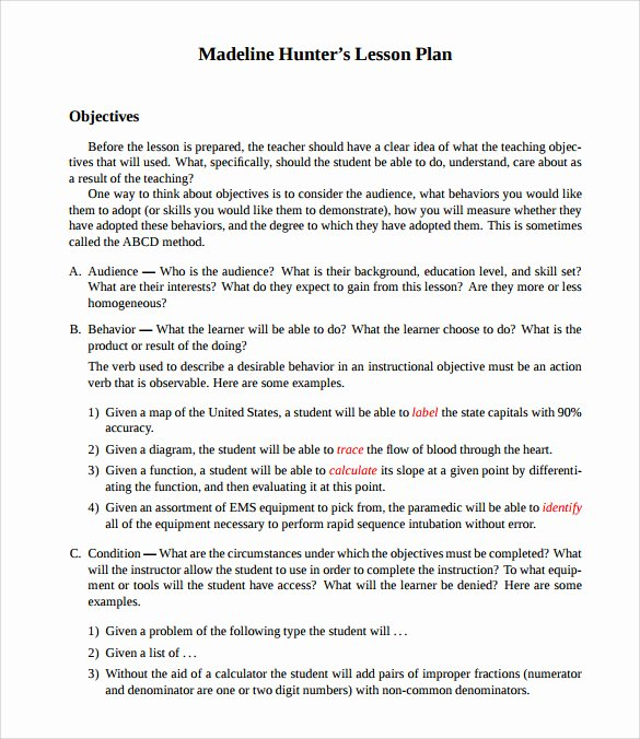 Madeline Hunter Lesson Plan Template Awesome Sample Madeline Hunter Lesson Plan Templates – 10 Free Examples & format