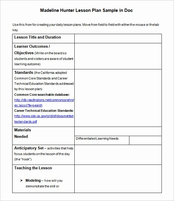 Madeline Hunter Lesson Plan Template Beautiful Lesson Plan Template – 43 Free Word Excel Pdf format Download