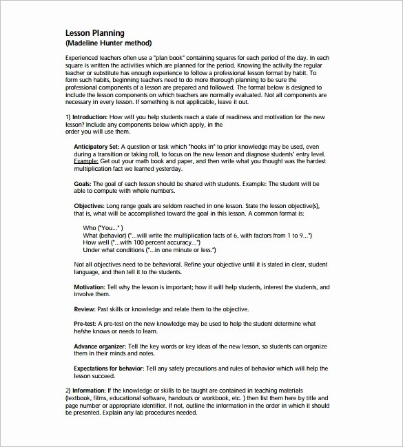 Madeline Hunter Lesson Plan Template Best Of Madeline Hunter Lesson Plan Template – 6 Free Sample Example format Download