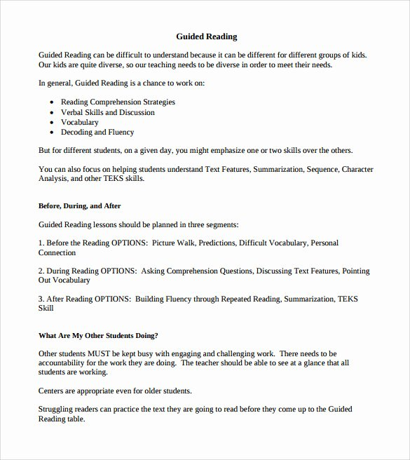Madeline Hunter Lesson Plan Template Elegant Sample Guided Reading Lesson Plan Template – 9 Free Examples format