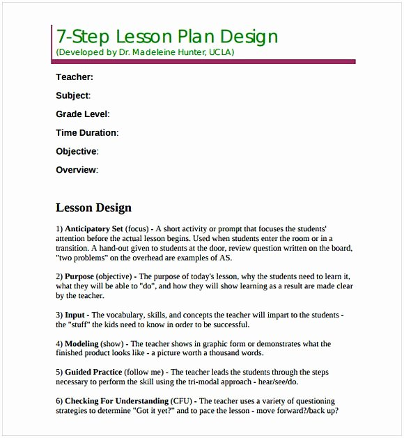 Madeline Hunter Lesson Plan Template Inspirational Madeline Hunter Lesson Plan Template
