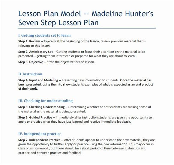 Madeline Hunter Lesson Plan Template Lovely Sample Madeline Hunter Lesson Plan – 11 Documents In Pdf Word
