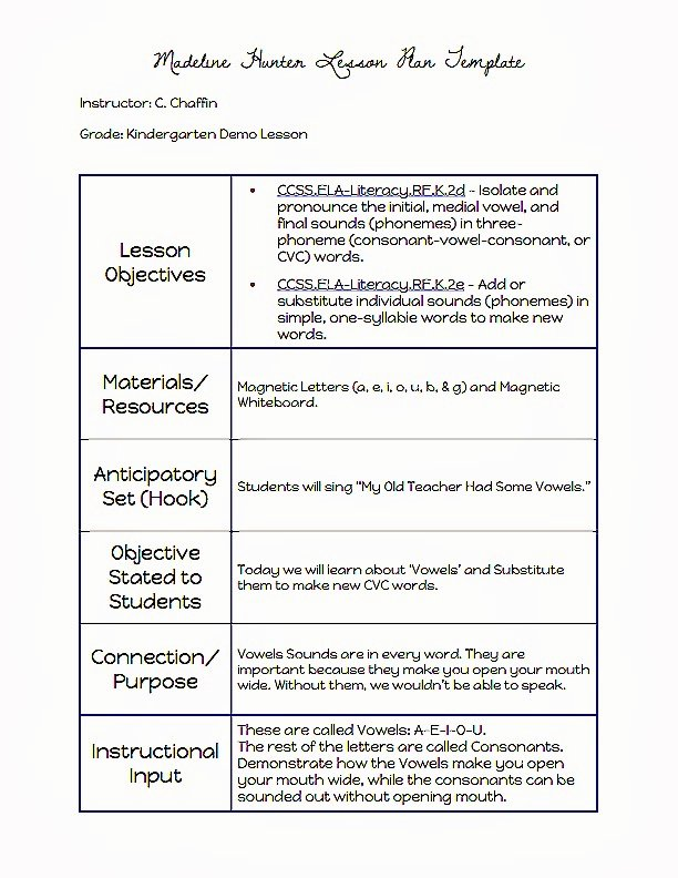 Madeline Hunter Lesson Plan Template Luxury Mon Core Blogger Madeline Hunter Lesson Plan Template