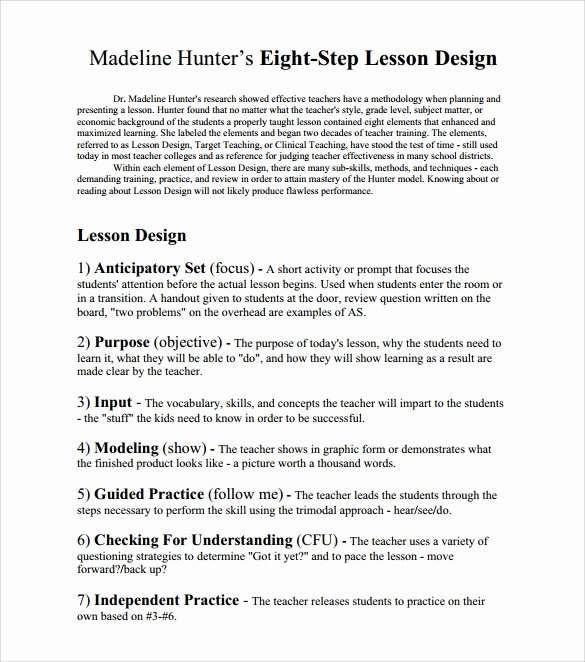 Madeline Hunter Lesson Plan Template New Sample Madeline Hunter Lesson Plan – 11 Documents In Pdf Word