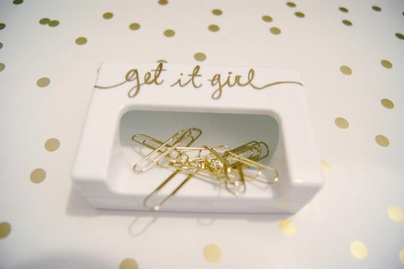 Magnetic Paper Clip Holder Luxury Get It Girl White Magnetic Paper Clip Holder W 10 Gold