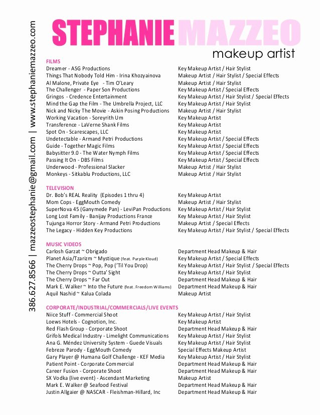 Make Up Artist Resume Inspirational Stephanie Mazzeo Makeup Artist Resume