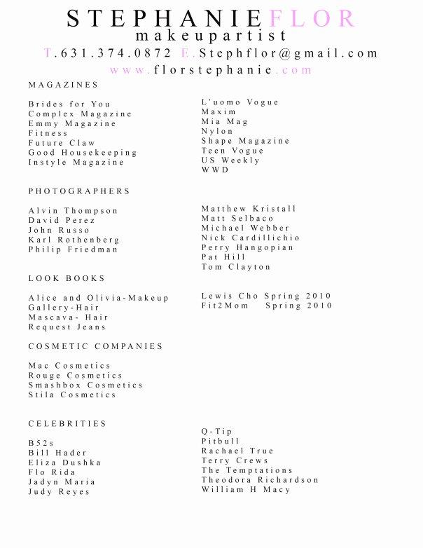 Make Up Artist Resume Luxury Resume