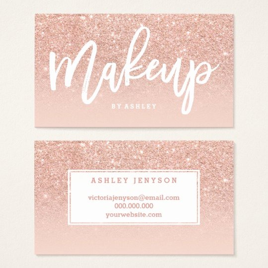 Makeup Artist Business Card Lovely Makeup Artist Elegant Typography Blush Rose Gold Business Card