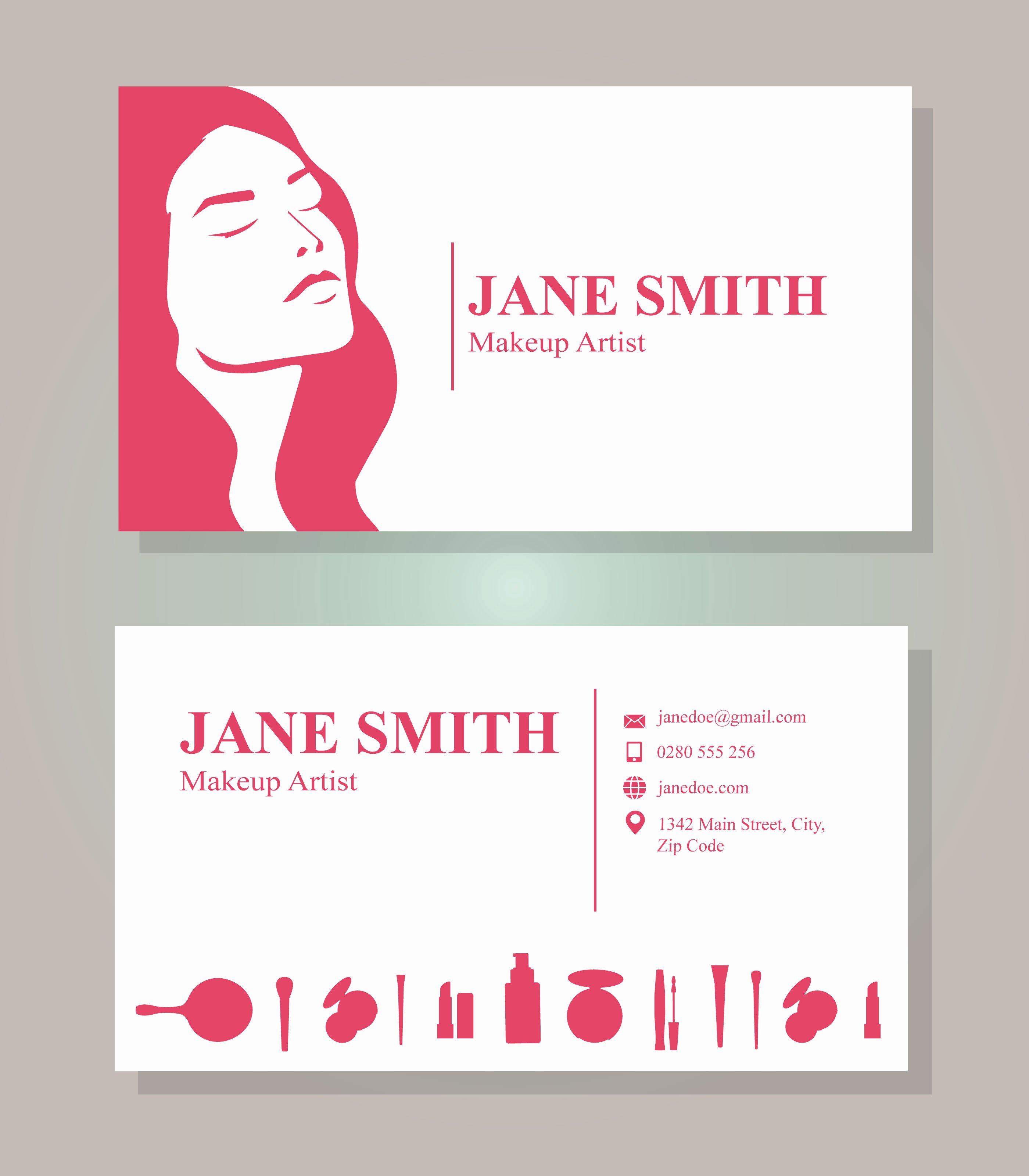 Makeup Artist Business Cards Best Of Makeup Artist Business Card Template Download Free Vector Art Stock Graphics &