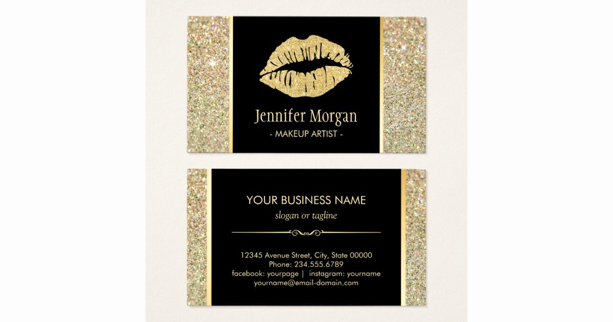 Makeup Artist Business Cards Ideas Best Of Gold Lips Trendy Glitter Sparkles Makeup Artist Business Card