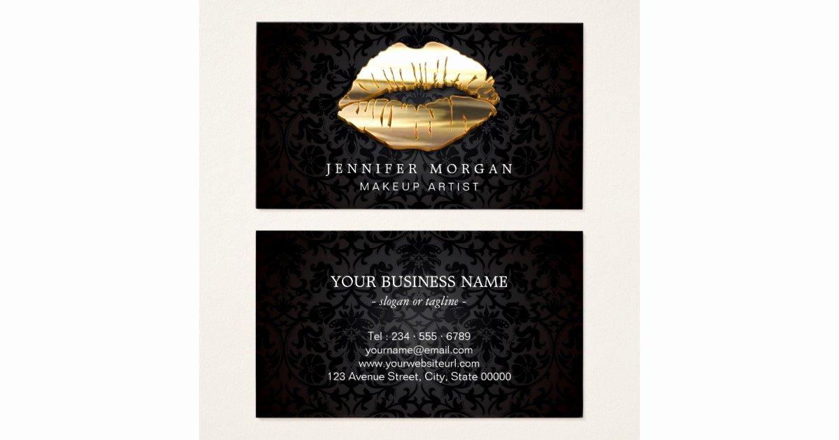 Makeup Artist Business Cards Lovely Eye Catching 3d Black Gold Lips Makeup Artist Business Card