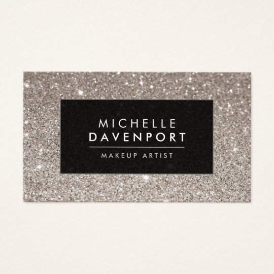 Makeup Artist Bussiness Cards Elegant Classic Silver Glitter Makeup Artist Business Card