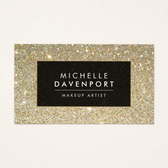 Makeup Artist Bussiness Cards Lovely Classic Gold Glitter Makeup Artist Business Card