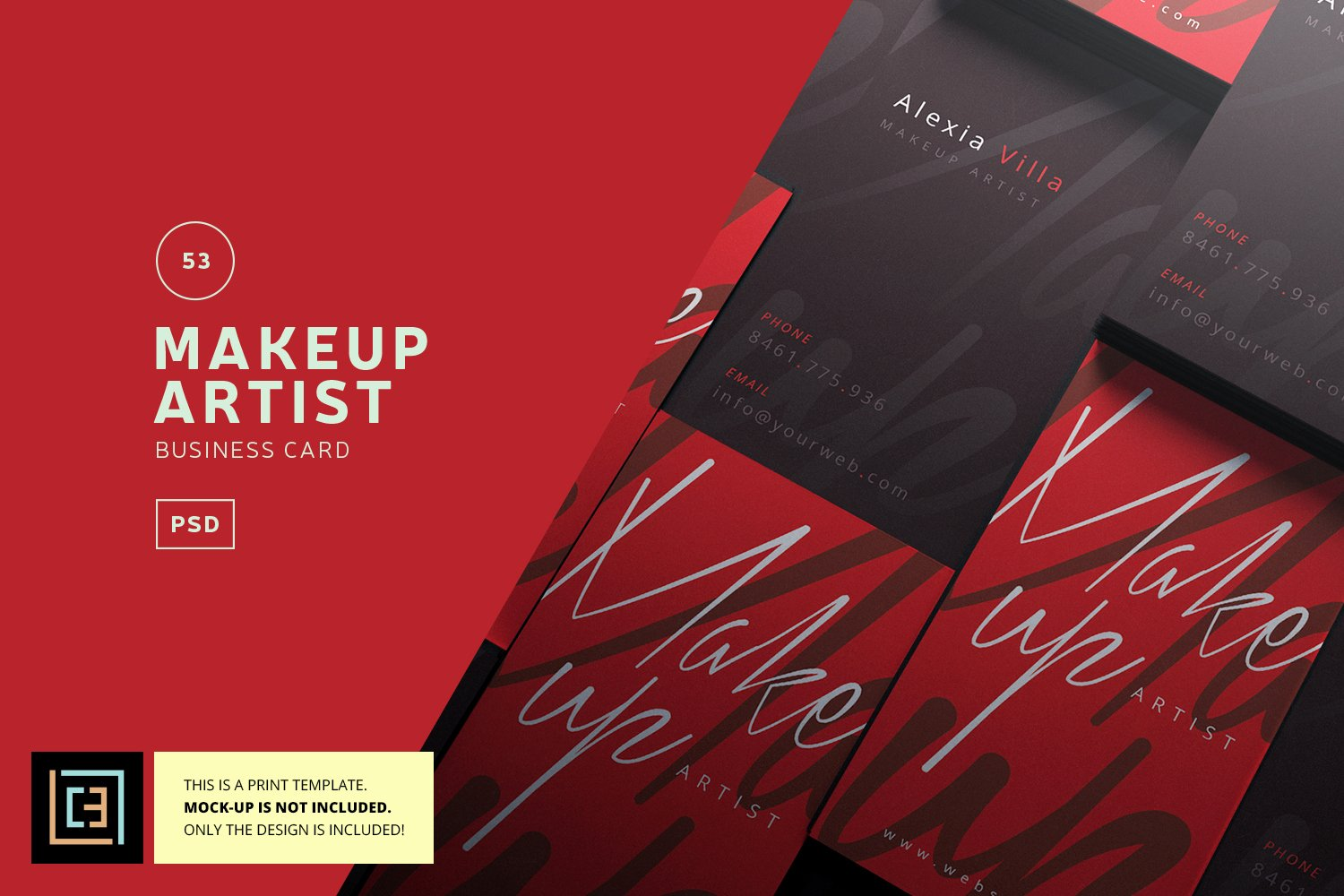 Makeup Artist Bussiness Cards Lovely Makeup Artist Business Card Bc053