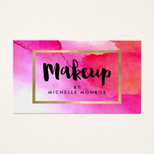 Makeup Artist Bussiness Cards Unique Bold Pink Watercolors Makeup Artist Business Card