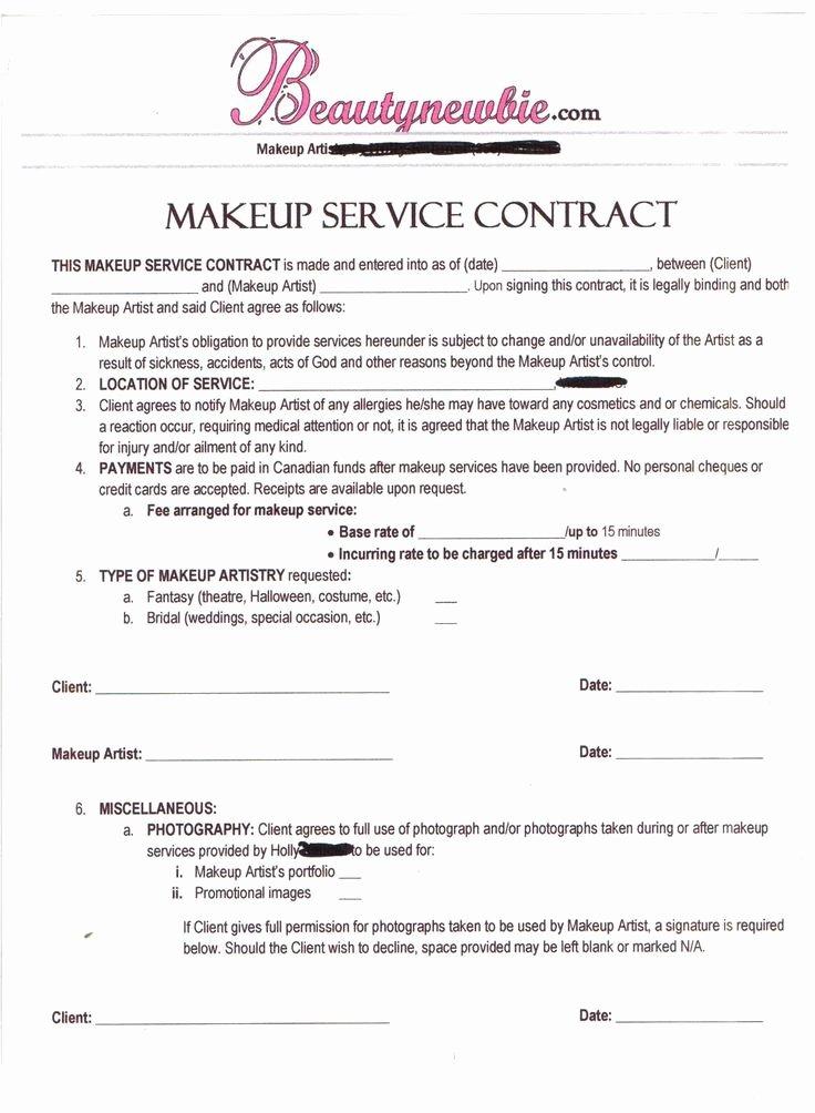 Makeup Artist Contract Template Beautiful Contract Makeup Artist