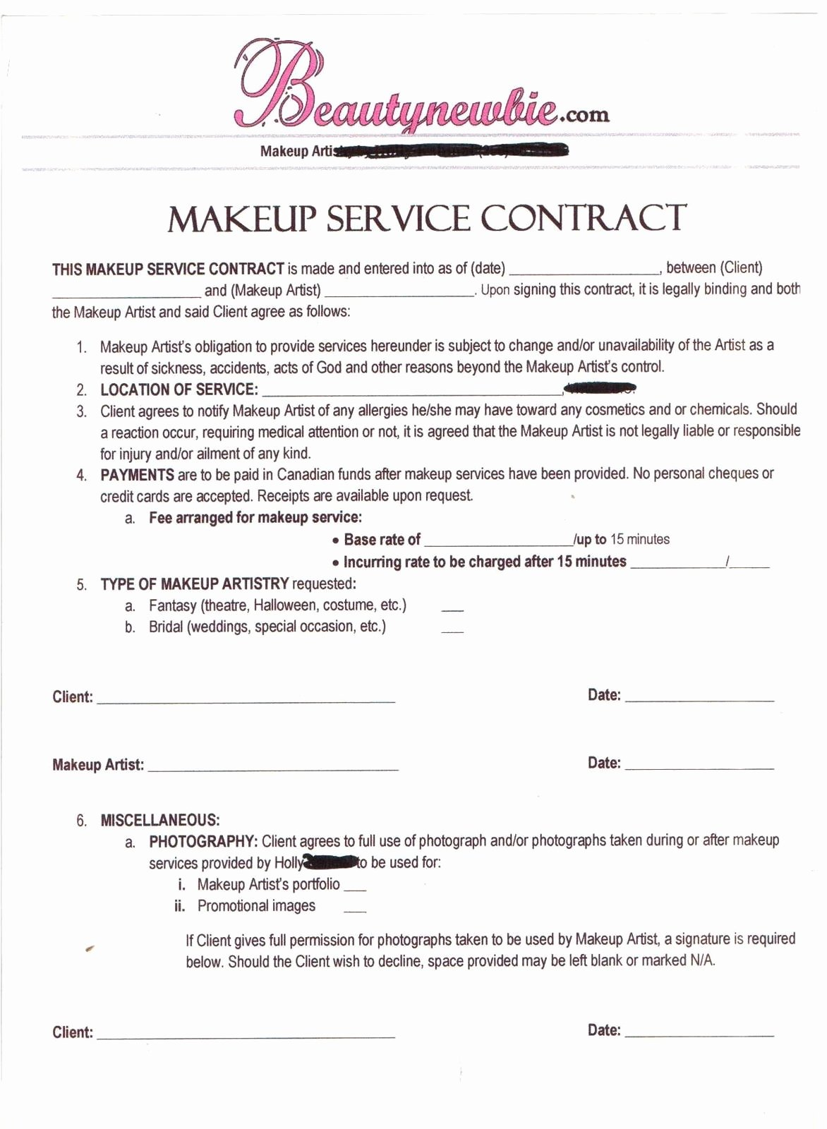 Makeup Artist Contract Template Free Inspirational Contract Makeup Artist
