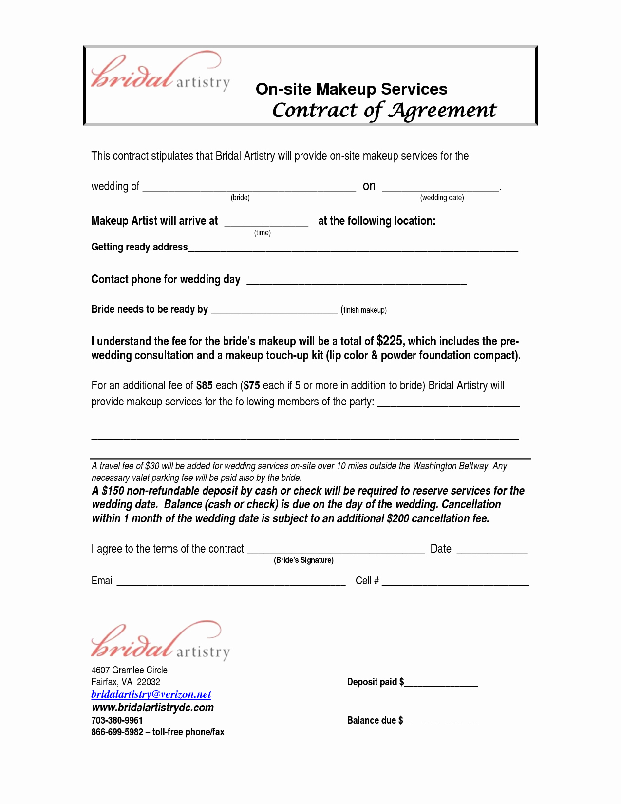 Makeup Artist Contract Template Free Unique Bridalhaircotract