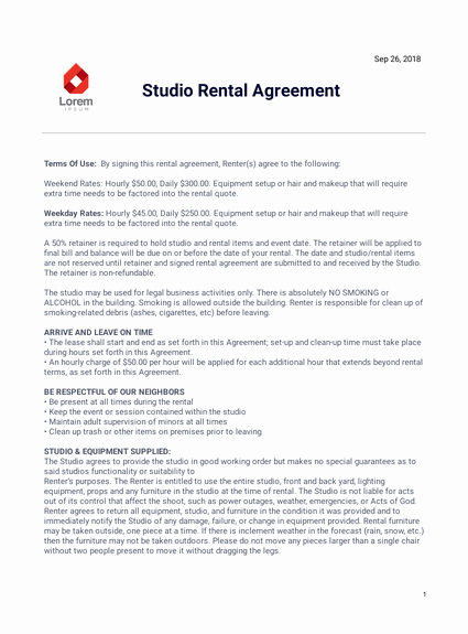 Makeup Artist Contract Template Lovely Studio Rental Agreement Template Pdf Templates