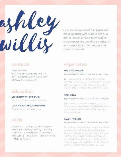 Makeup Artist Resume Sample Awesome Pink Blue Script Creative Makeup Artist Resume Resumes and Job Stuff