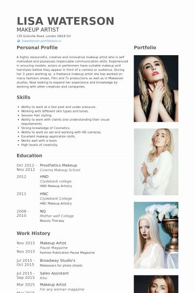 Makeup Artist Resume Sample Fresh Makeup Artist Resume Example … Make Up