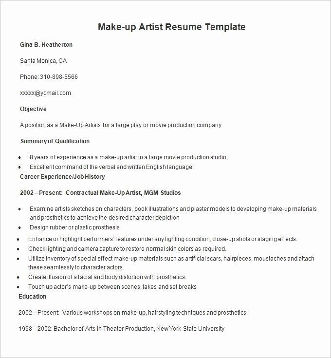 Makeup Artist Resume Sample Unique Resume Templates – 127 Free Samples Examples & format Download