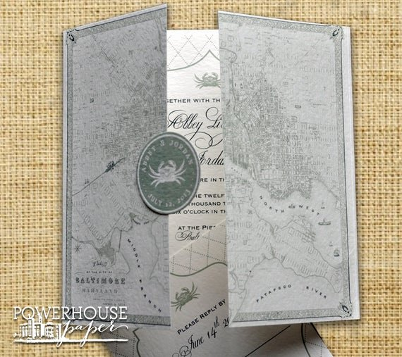 Maps for Wedding Invitations Templates Awesome Baltimore Vintage Map Wedding Invitation Diy We