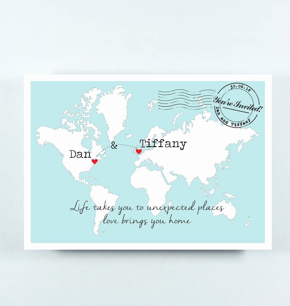 Maps for Wedding Invitations Templates Beautiful Tiffany Wedding Map Postcard Invitation with Quote by Paper and Inc