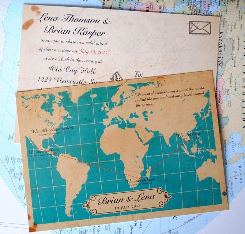 wedding invitations with wedding maps