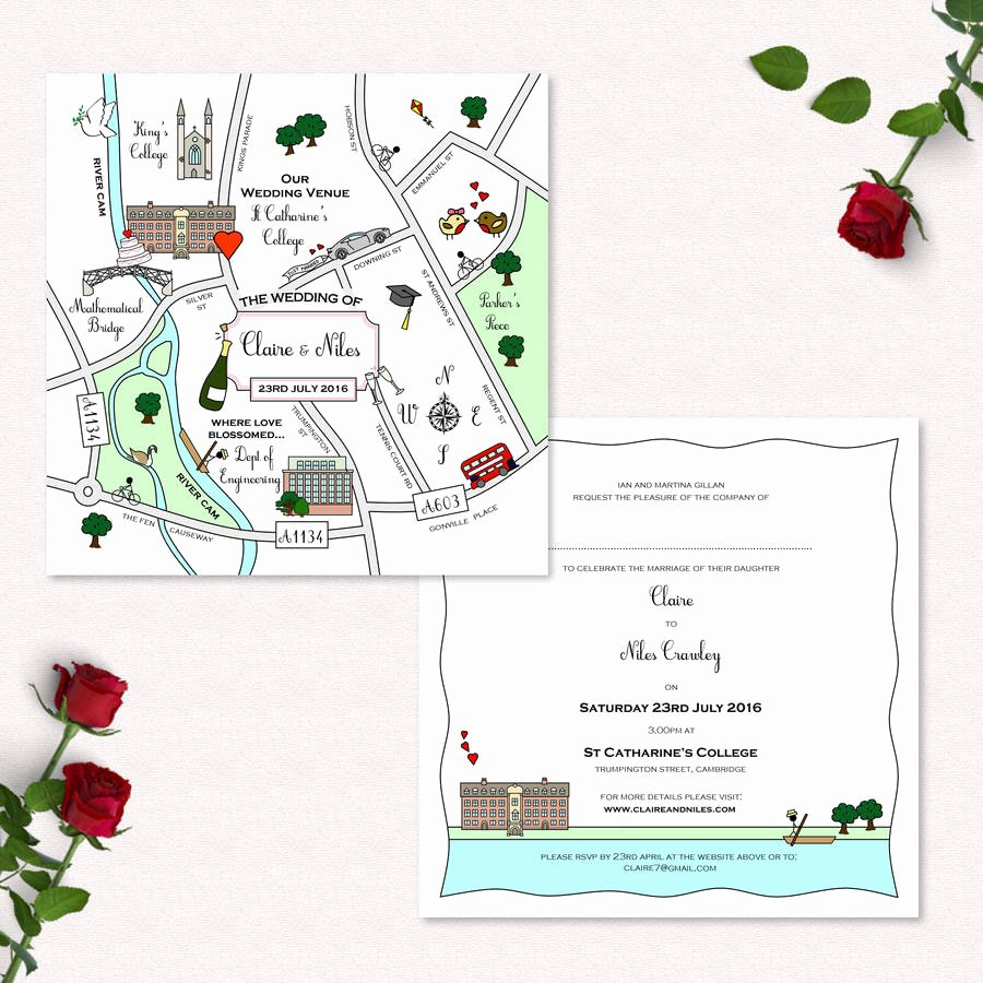 Maps for Wedding Invitations Templates Elegant Wedding or Party Illustrated Map Invitation by Cute Maps