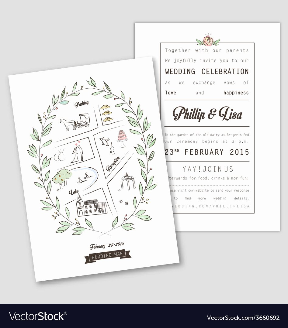Maps for Wedding Invitations Templates New Wedding Invitation Template with Map Royalty Free Vector